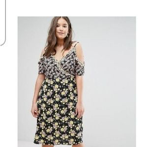 Asos New Look curve mix print could shoulder dress